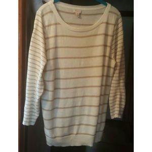 J. Crew - Cream & Tan Lightweight Sweater - XL